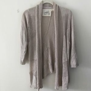 Angel of the North Linen Open Cardigan XS Tan